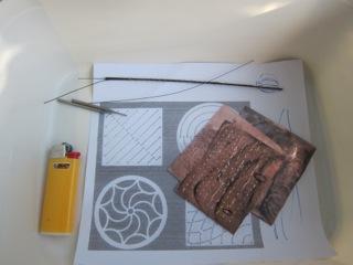 Jewellery school starter kit, copper, saw blades, lighter
