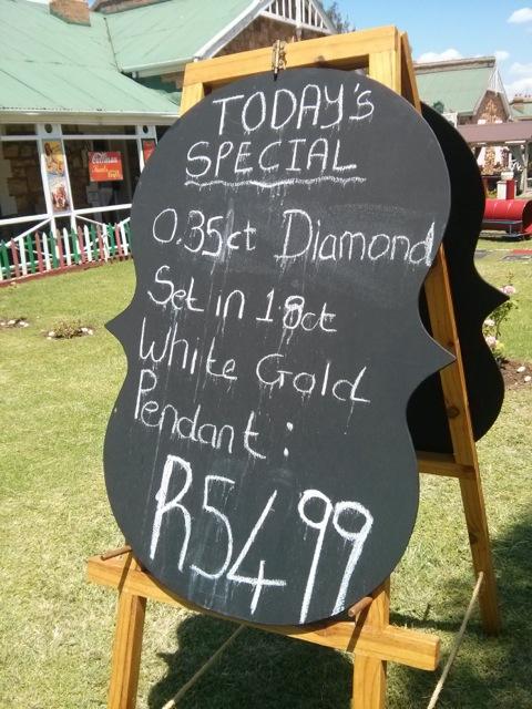 Specials Board in Cullinan advertising diamond jewellery