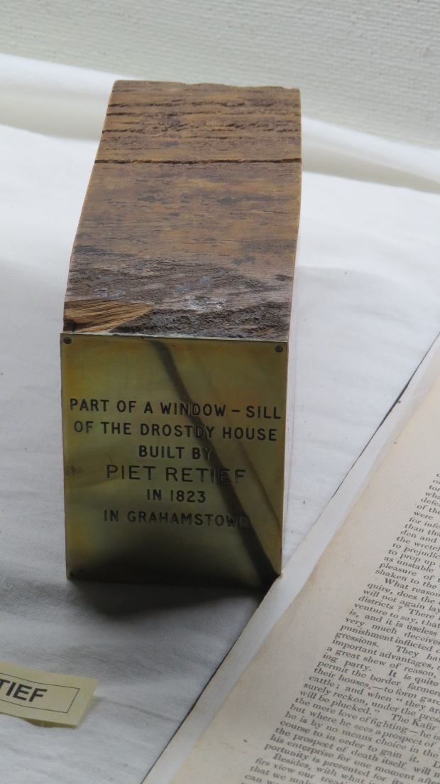 a fragment of piet retief's window sill from Grahamstown