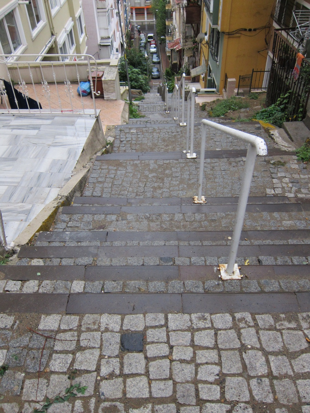 the expat uphill battle on a steep stepped hill in istanbul