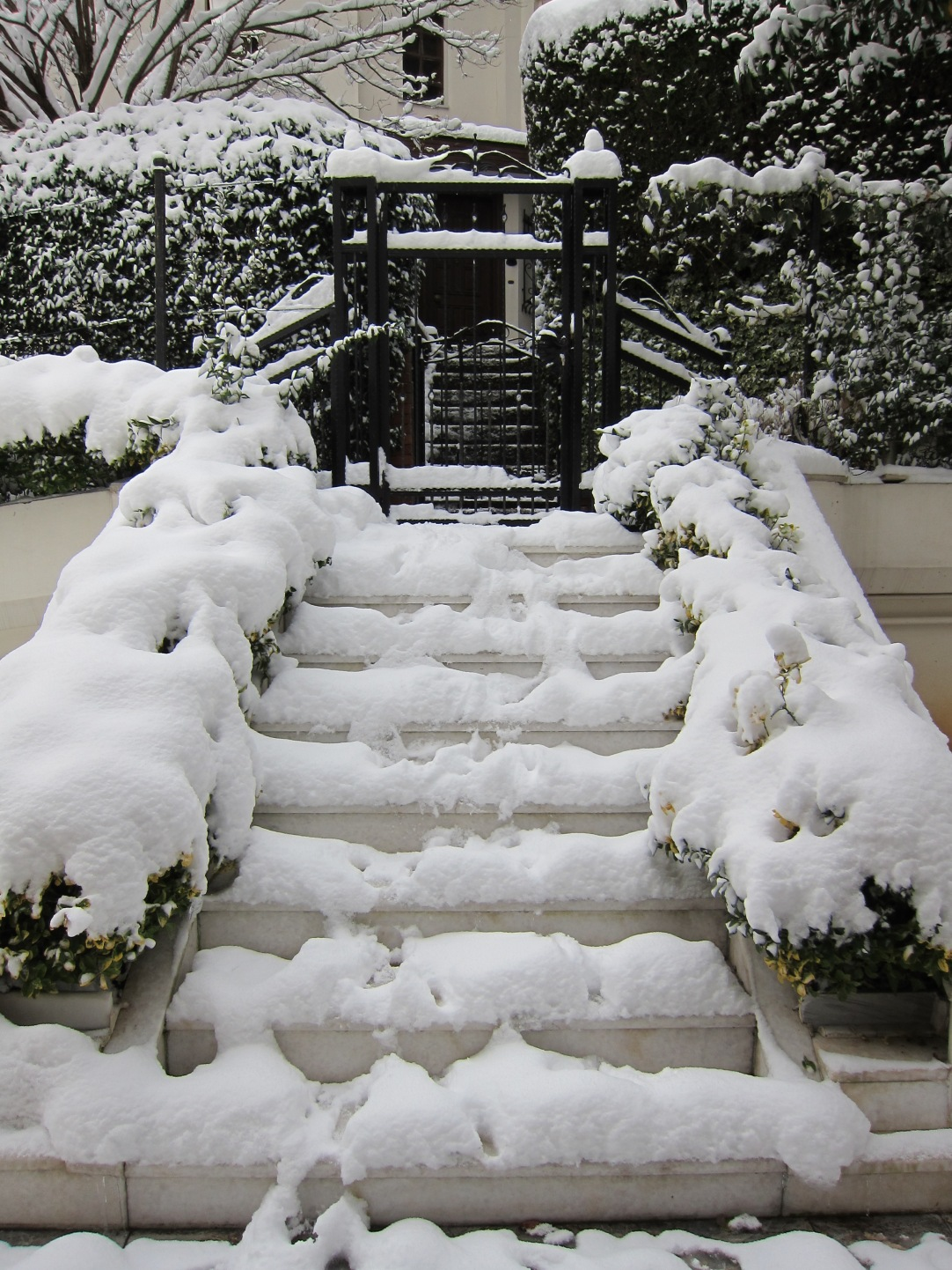 snow covered steps in istanbul