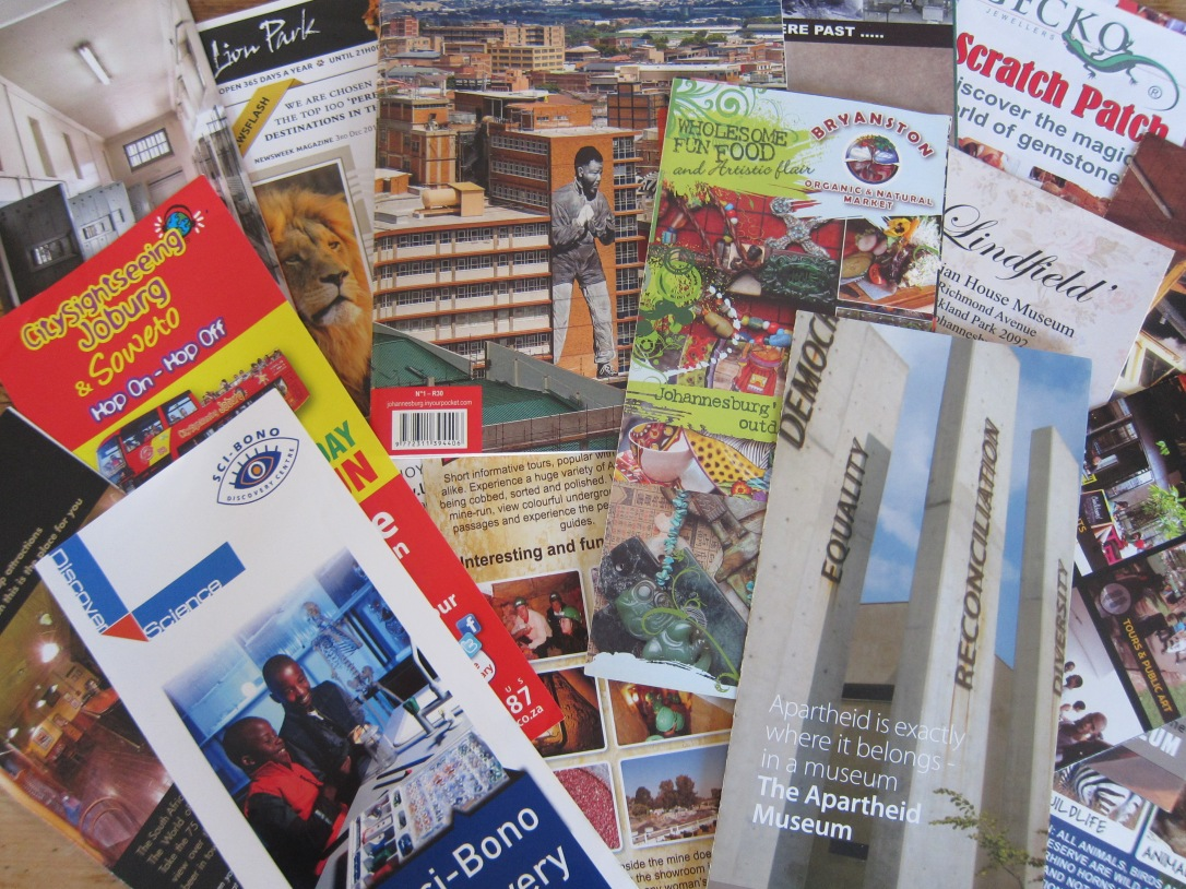 tourist maps and leaflets for Johannesburg attractions
