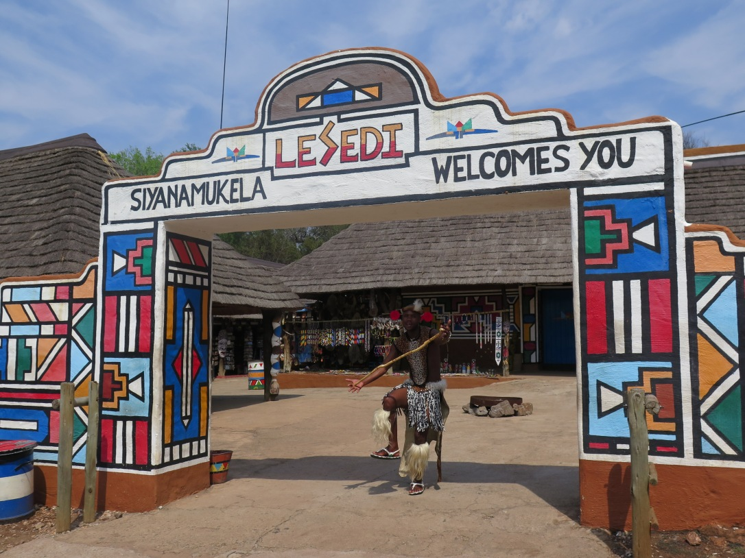Entrance to Lesedi Cultural village south africa ndebele design