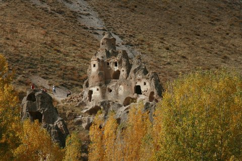 Fairy chimney castle Cappadocia, Turkey.