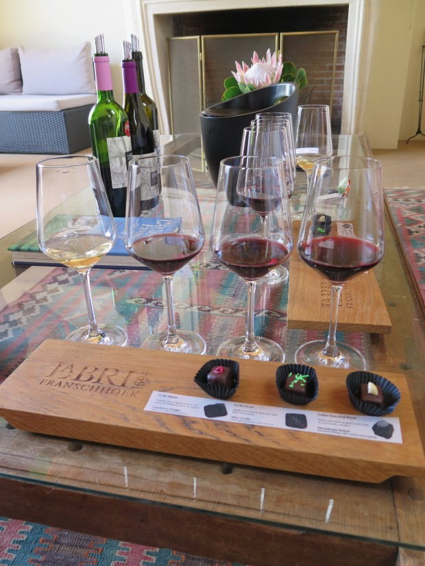 Franschhoek La Bri vineyard wine and chocolate pairing