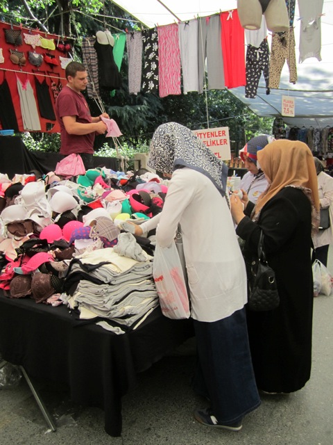 bra shopping for hats for twins at the pazaar Istanbul