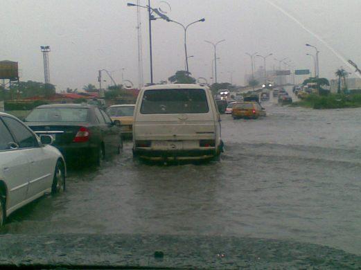 Lagos traffic jam in monsoon rain
