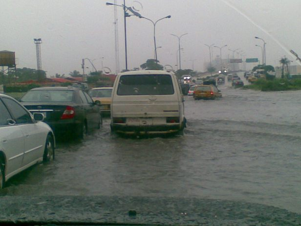 Lagos traffic jam in monsoon rain