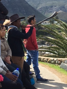 Hermanus whale cryer blowing horn to alert whale sighting and people coming to watch