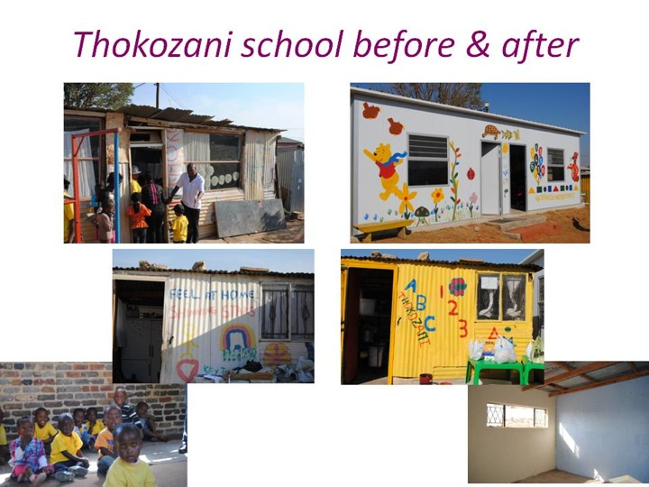 Thokozani preschool Diepsloot, Johannesburg, before and after photos of buildings.