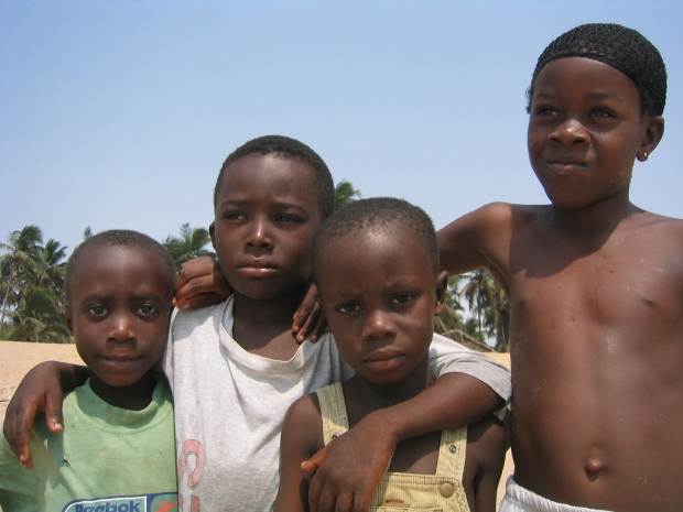 Children on a beach in Lagos Nigeria