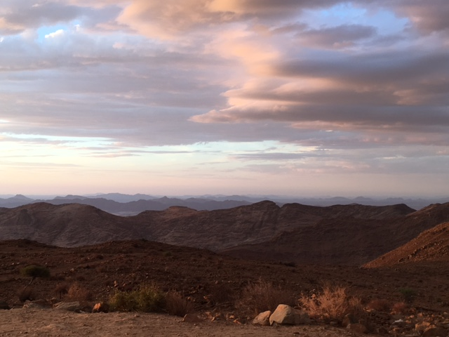 Sunset over the mountains, Namibia.
