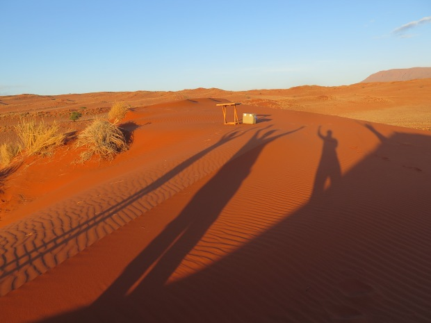 Shadows over red dunes Namibia.