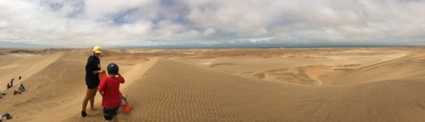 Sandboarding in golden dunes near Swakopmund.