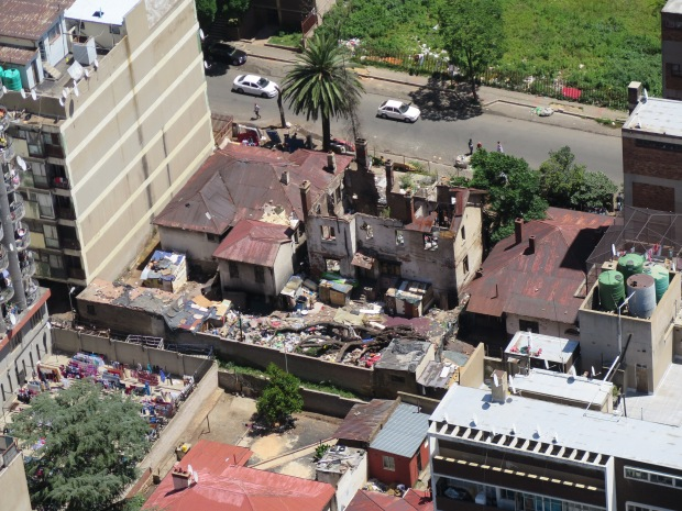View of derelict house from Ponte Tower Johannesburg.