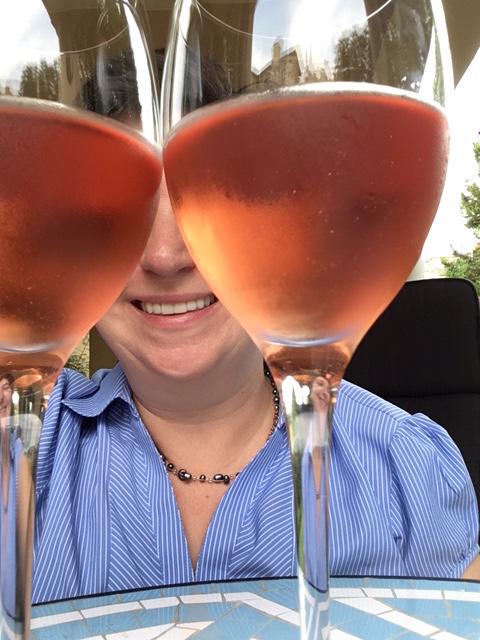 rose tinted wine glasses