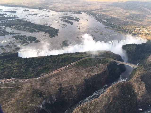 Aerial shot of Victoria Falls from Helicopter