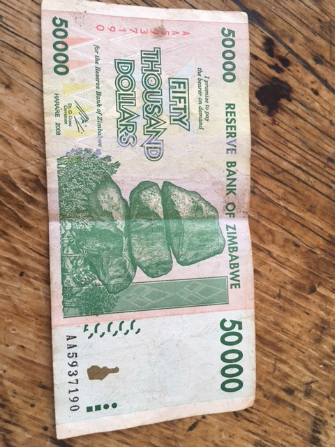 A 50,000 Zimbabwean Dollar Note