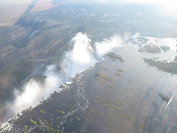 Helicopter view of Victoria Falls.