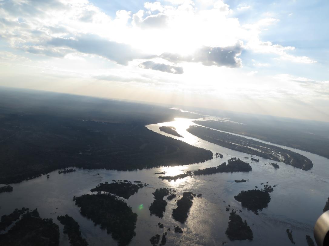 The wide Upper Zambezi, before it crashes down the Victoria Falls.