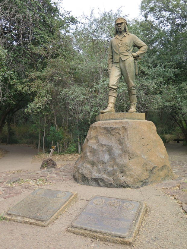 Statue of David Livingstone at the Zimbabwean side of Victoria Falls.