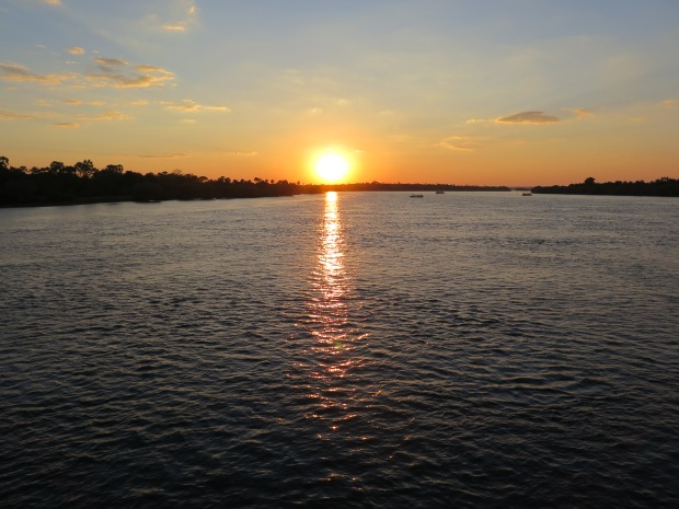 Sunset over the Zambezi River above Victoria Falls