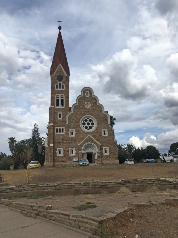 Lutheran Christuskirche (Christ Church) on a roundabout, Windhoek Namibia on family road trip.