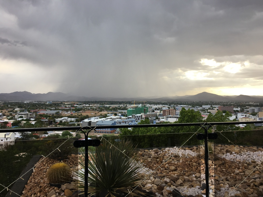 Cloudburst over Windhoek on family road trip Namibia.