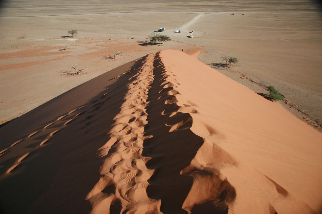 Looking down a footprint trail on Dune 45 in Sossuvlei Namibia