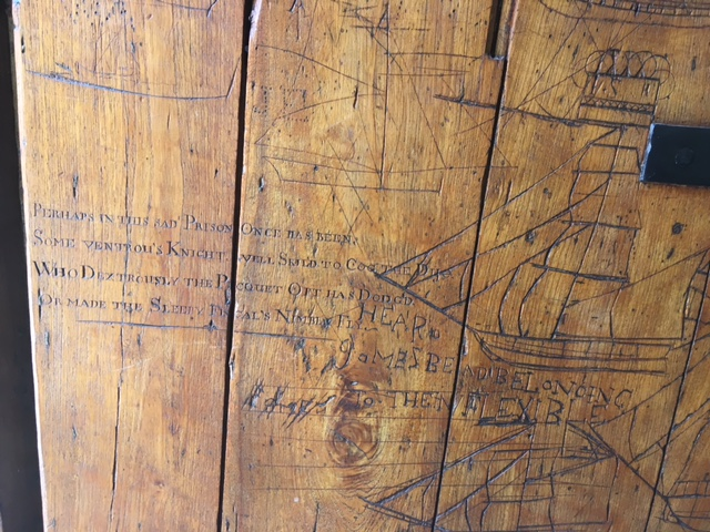 Castle of Good Hope Cape Town South Africa Boats carved on prison cell door by prisoners