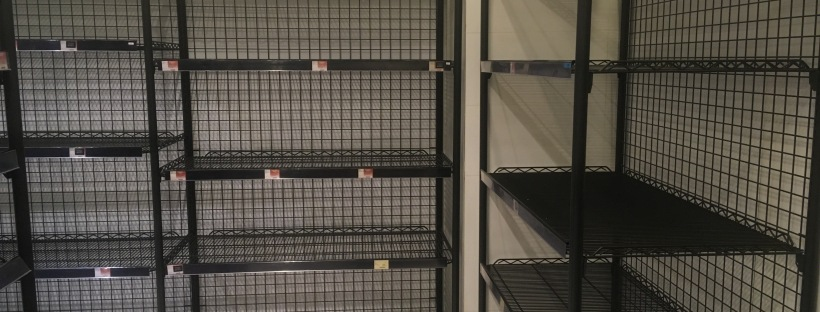 Empty shelves in the toilet paper aisle amid panic buying Hong Kong