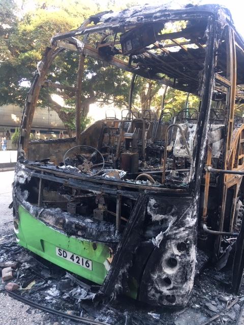 burnt out bus during Hong Kong protests November 2019