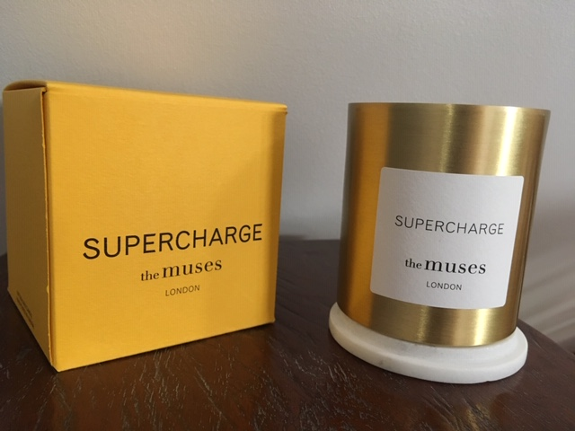 supercharge candle brass container by the muses London expat entrepreneur Fiona Utting